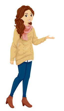sweatshirt: Illustration Featuring a Fashionable Teenage Girl Wearing a Knitted Sweatshirt, Denim Jeans, Wool Scarf, and Leather Boots Doing a Presentation Stock Photo