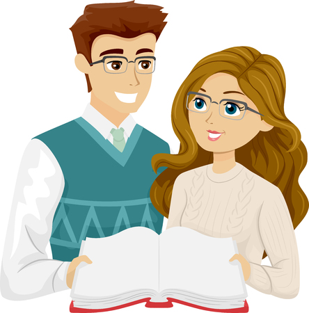 Illustration of a Young Teenage Couple in Glasses Reading a Book Together