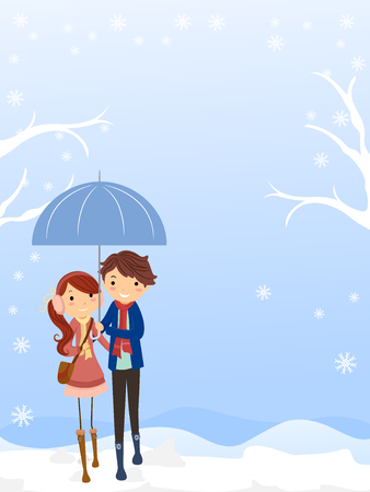 Background Illustration Featuring a Young Stickman Couple Sharing an Umbrella as They Walked Together in the Snow
