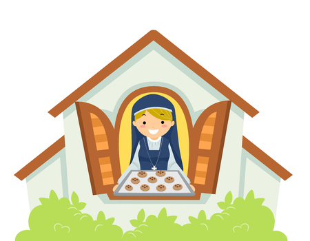 Illustration of a Beautiful Young Woman Wearing the Uniform of a Nun Baking Cookies for Charity