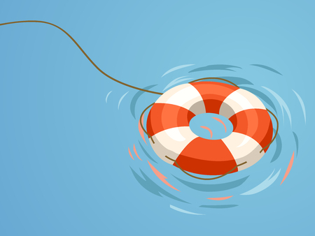 Minimalistic Illustration Featuring an Orange Floater Set Against a Blue Background Stock Photo