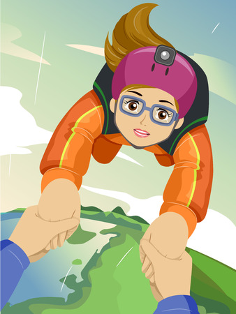 Illustration Featuring an Adventurous Teenage Girl Being Guided by a Sky Diving Instructor