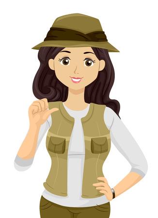 일치하는 바지와 조끼와 모자를 착용하는 십 대 소녀를 갖춘 그림