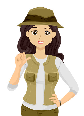 Illustration Featuring a Teenage Girl Wearing a Hat with Matching Pants and Vest Reklamní fotografie - 83239631