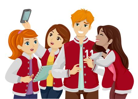 Ilustración con un grupo de jóvenes adolescentes aferrándose a un adolescente popular en un jersey