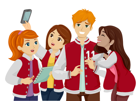 Illustration Featuring a Group of Young Teenage Girls Clinging to a Popular Teenage Guy in a Jersey Stock Photo