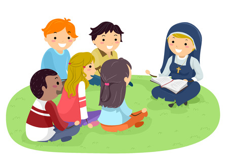 Stickman Illustration Featuring Teenagers Listening to a Nun Read the Bible