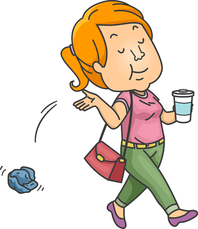 Illustration Featuring a Teenage Girl Carelessly Throwing Trash Around