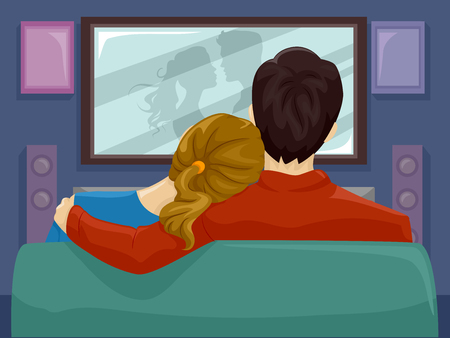 Illustration Featuring a Couple Spending a Romantic Night Watching Movies Together