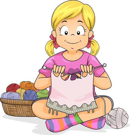Bunte Illustration, die ein kleines Mädchen strickt nahe bei einem Korb des Garns kennzeichnet Standard-Bild - 83239648