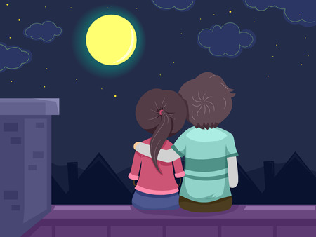 gazing: Stickman Illustration Featuring a Young Couple Spending a Romantic Night on the Roof Gazing at the Moon Stock Photo