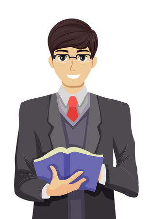 Illustration Featuring a Nerdy Teenage Guy in a Suit and Pair of Glasses Teaching a Class