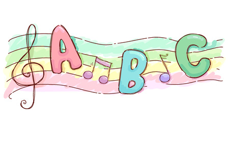 g clef: Colorful Illustration Featuring a Musical Scale Decorated With the Letters ABC and a G Clef Stock Photo