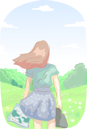 Colorful Illustration Featuring a Young Teenage Girl in a Flowing Skirt  Holding a Map While Gazing Over a Lovely Meadow