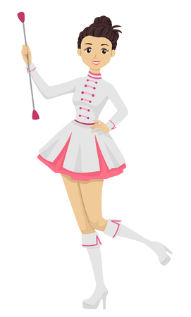 Illustration Featuring a Young Teenage Girl in a Majorette Uniform Playing With Her Baton Banco de Imagens