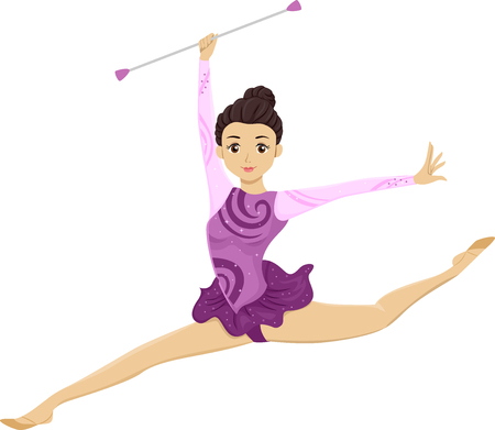 Illustration Featuring a Young Teenage Girl in a Purple Leotard Twirling Her Baton While Performing a Split