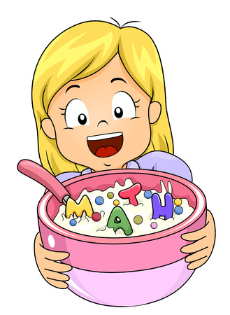 Colorful Illustration Featuring a Little Girl Offering a Large Bowl of Cereal Topped With Letters That Spell Out Math