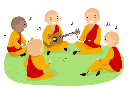 Stickman Illustration Featuring a Group of Teenage Monks Singing While Playing the Guitar Stock Photo