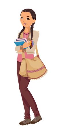 学校に行く途中の若い十代アメリカ ・ インディアン学生の特徴図