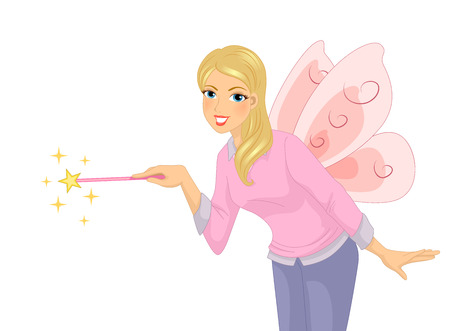 role play: Illustration of a Beautiful Young Teacher Wearing a Fairy Costume With Matching Magic Wand