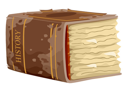 Illustration Featuring a Huge, Yellowed History Book Showing a Peeling Cover and Frayed pages Stock Photo