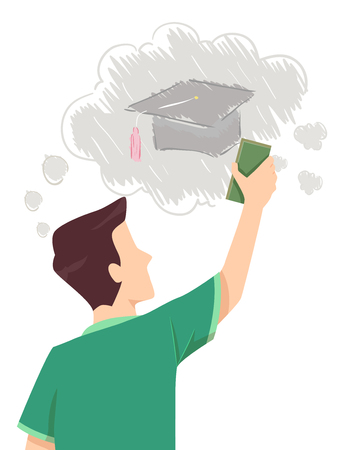poverty: Concept Illustration Featuring a Teenage Guy Erasing the Drawing of a Graduation Cap on the Whiteboard