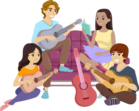 Illustration Featuring a Group of Teenagers Singing and Playing the Guitar Together Stock Photo