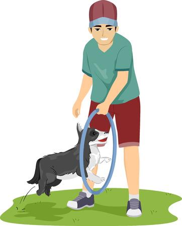 Illustratie van een tiener jongen met behulp van een hoepel om zijn hond te leren om nieuwe trucs uit te voeren