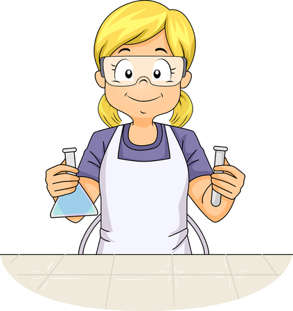 Illustration Featuring a Little Girl Wearing an Apron and a Pair of Safety Goggles Holding a Flask in One Hand and a Test Tube in the Other Stock Photo