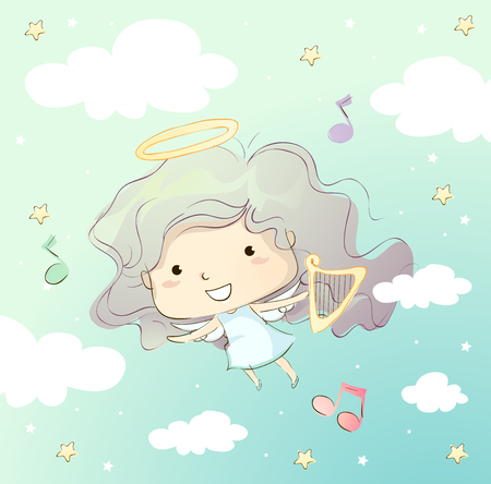Whimsical Illustration of a Cute Little Girl Dressed Like an Angel Carrying a Harp Stok Fotoğraf