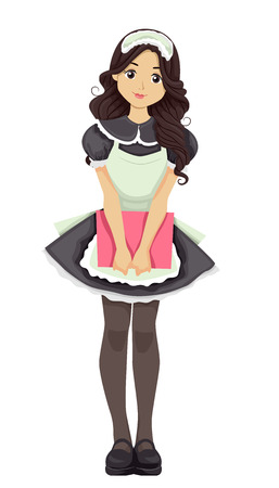 Illustration Featuring a Young Teenage Waitress Wearing a French Maid Costume