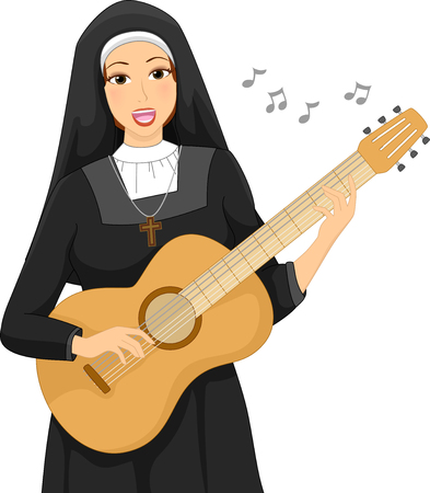 Illustration of a Beautiful Young Woman Wearing the Uniform of a Nun Singing While Strumming the Guitar
