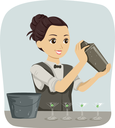 Illustration Featuring a Teenage Girl Dressed as a Barista Preparing a Cocktail