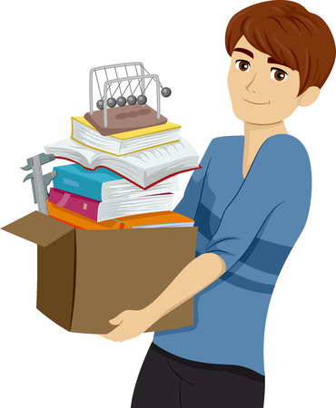 Illustration Featuring a Young Teenage Guy Carrying a Box of Notebooks and Laboratory Tools
