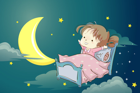 잠자기에 갈 준비가 핑크색 잠옷에 귀여운 소녀의 기발한 일러스트 레이션