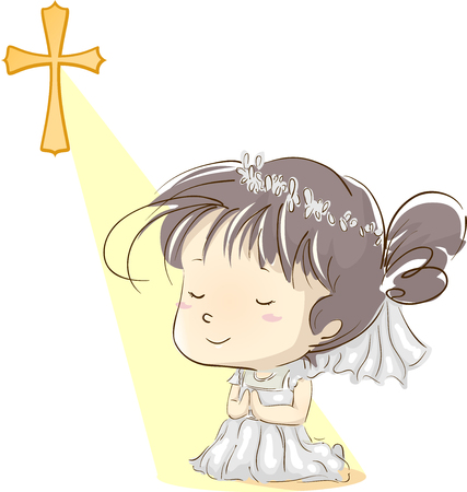 Illustration Featuring a Little Girl in a White Dress Kneeling in Prayer After Going Through Her First Communion Stock Photo