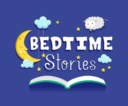 月、星、雲、ホバー羊と開いた本を備え童話のイラスト 写真素材