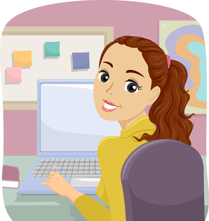 Illustration Featuring a Teenage Girl Using Her Laptop at Home to Browse the Internet