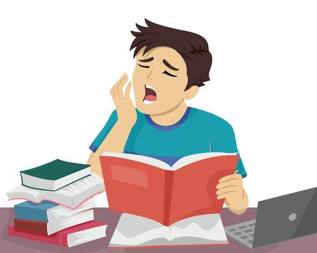 眠そうな 10 代の男が彼のレッスンを見直しながらあくびを特徴の図