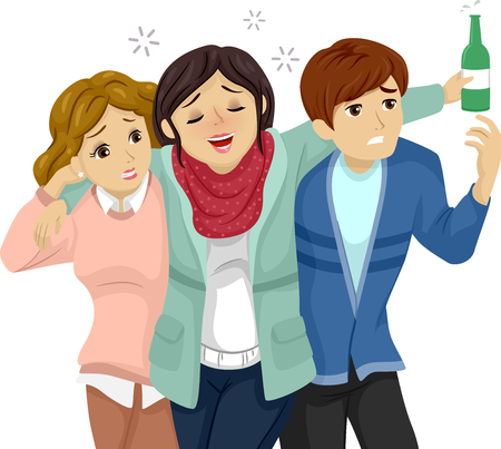 inebriated: Illustration Featuring a Teenage Girl and Boy Helping Their Drunk Friend Walk Stock Photo