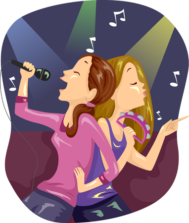 Illustration of a Pair of Teenage Girls Singing Together at a Karaoke Room