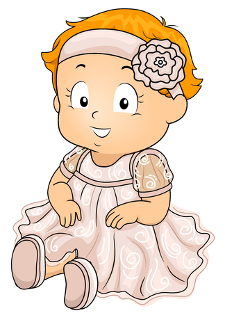 baptismal: Illustration of a Cute Little Girl Wearing a Lacy Dress and a Headband With a Flower Accent About to be Baptized