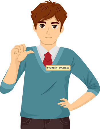 Illustration Featuring a Young Teenage Guy in Preppy Clothes Running for the Student Council Stock Photo