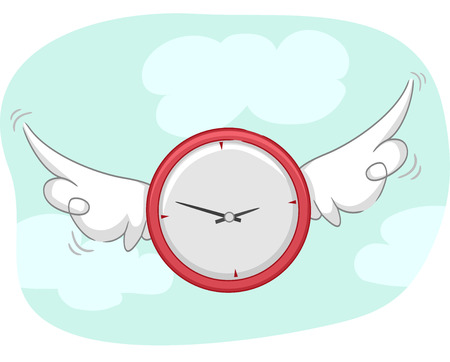 Concept Illustration About Time Featuring a Winged Clock Flying in the Sky