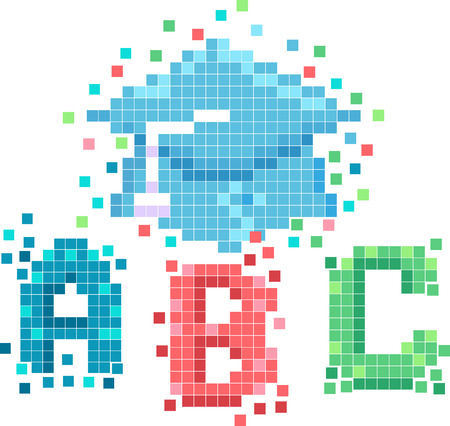 Mascot Illustration Featuring Pixelated Letters of the Alphabet With a Graduation Cap Hovering Over Them