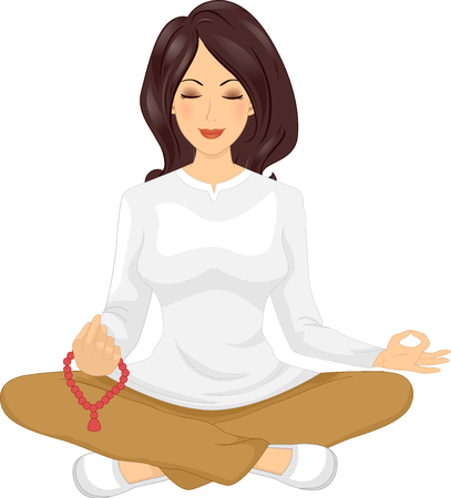 Illustration of a Beautiful Young Woman Sitting With Her Legs Crossed Holding Mala Beads While Meditating