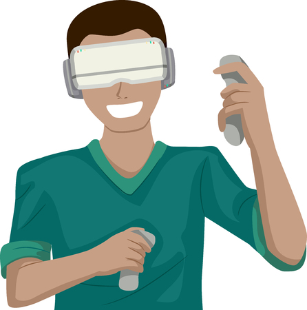 Illustration Featuring a Young Teenage Guy Making Hand Gestures While Playing a Virtual Reality Game