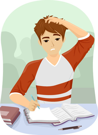 Illustration Featuring a Young Teenage Guy Scratching His Head in Frustration While Studying