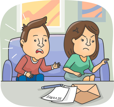 Illustration Featuring an Angry Wife Giving Divorce Papers to Her Surprised Husband Stock Photo