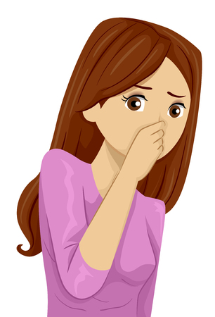 Illustration Featuring a Young Teenage Girl Pinching Her Nose After Smelling Something Bad